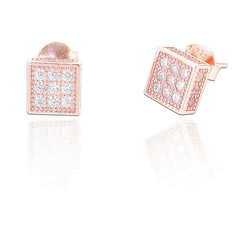 Seodra Sterling Silver with Rose Gold & Cubic Zirconia Stud Earrings
