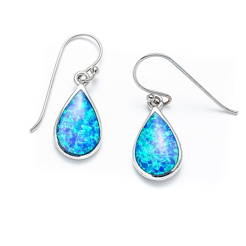 Seodra Sterling Silver Blue Opal Teardrop Earrings