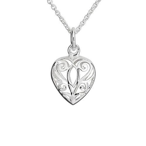 Seodra Sterling Silver Filigree Puff Heart Necklace