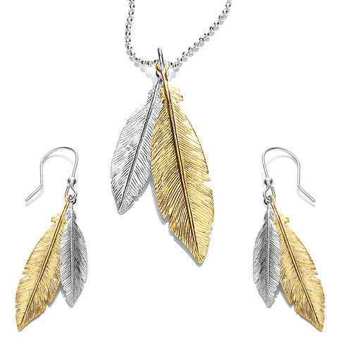 Seodra Sterling Silver & Gold Feather Necklace & Earring Set