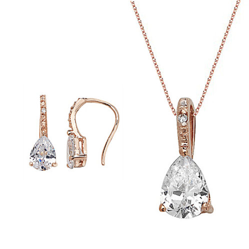 Seodra Sterling  Silver with Rose Gold  & Cubic Zirconia Tear Drop Set