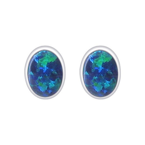Seodra Sterling Silver & Opal Oval Stud Earrings