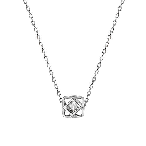 Seodra Sterling Silver & Cubic Zirconia Octagon Necklace