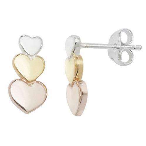 Seodra Sterling Silver Three Colour Heart Stud Earrings