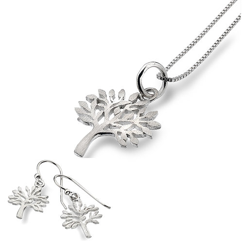 Pure Origins Sterling Silver Tree of Life Necklace & Earring Set