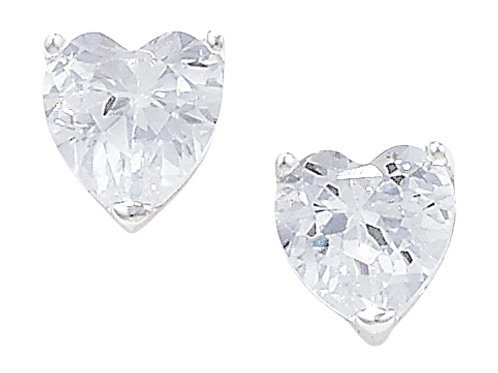 Seodra Sterling Silver & Cubic Zirconia Heart Stud Earrings