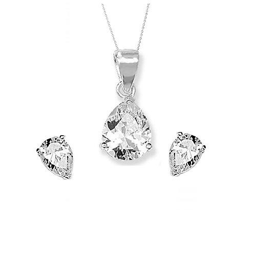 Seodra Sterling Silver & Cubic Zirconia Pear Drop Necklace & Earrings Set