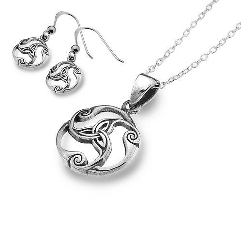 Celtic Lands Sterling Silver Trinity Knot Jewellery Set