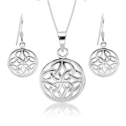 Seodra Sterling Silver Triquetra Knot Necklace & Earring set