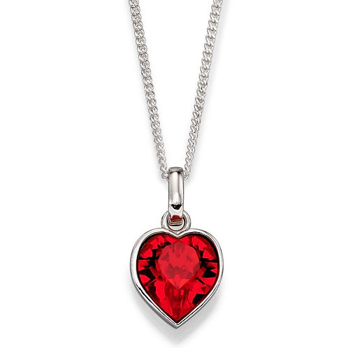 Ruby Red Swarovski Crystal Heart Necklace