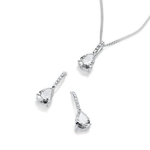 Seodra Sterling Silver & Cubic Zirconia Teardrop Necklace & Earring Set