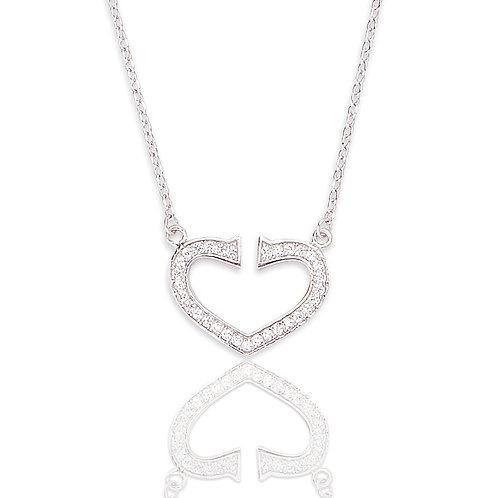 Seodra Sterling Silver & Cubic Zirconia Heart Necklace