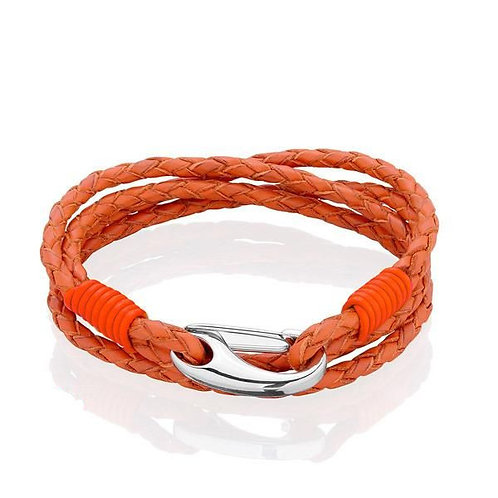 Tribal Steel Orange Leather Four Strand Bracelet