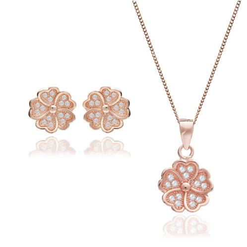 Seodra Sterling Silver & Rose Gold Flower Pendant & Earring Set