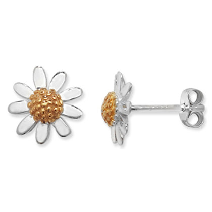 Seodra Sterling Silver & Gold Daisy Stud Earrings