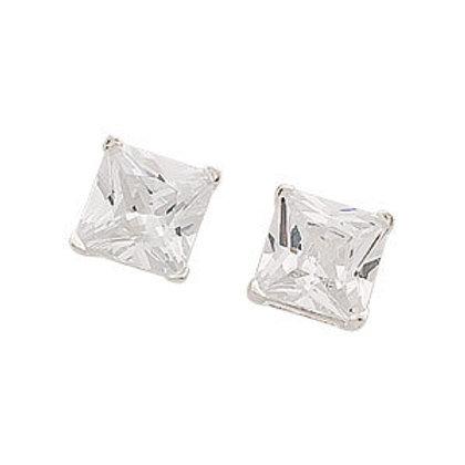 Seodra Sterling Silver & Cubic Zirconia Princess Cut Stud Earrings