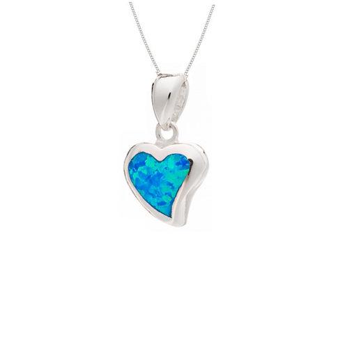 Seodra Sterling Silver & Blue Opal Heart Necklace
