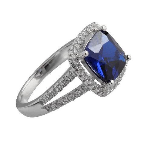 Seodra Sterling Silver Sapphire Princess Cut Halo Ring
