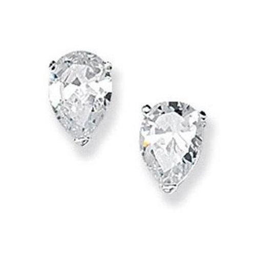 Seodra Sterling Silver & Cubic Zirconia Pear Shape Stud Earrings