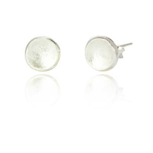 Seodra Sterling Silver Frosted Disc Earrings