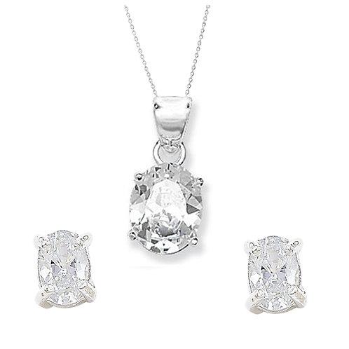 Seodra Sterling Silver & Cubic Zirconia Oval Necklace & Earrings Set