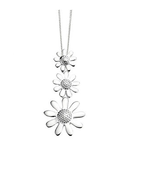 Seodra Sterling Silver Triple Daisy Necklace