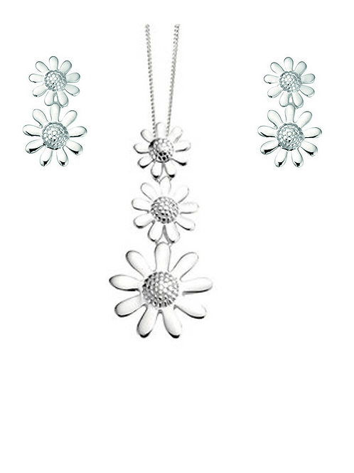 Seodra Sterling Silver Triple Daisy Necklace & Earrings Set