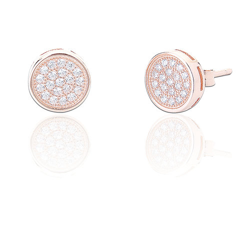 Seodra Sterling Silver with Rose Gold & Cubic Zirconia Button Stud Earrings