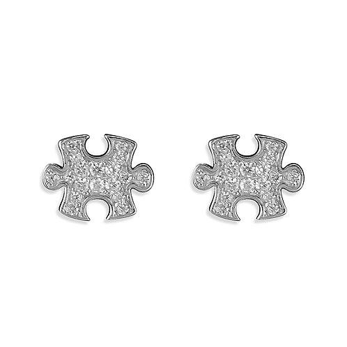 Seodra Sterling Silver & Cubic Zirconia Jigsaw Puzzle Earrings