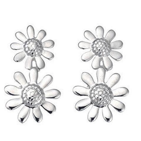 Seodra Sterling Silver Double Daisy Drop Earrings