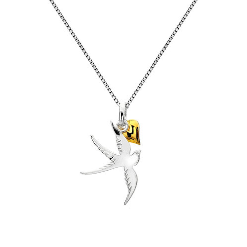 Pure Origins Sterling Silver Swallow & Heart Necklace
