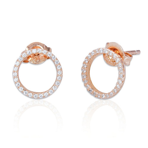 Seodra Sterling Silver with Rose Gold & Cubic Zirconia Circle of Life Earrings