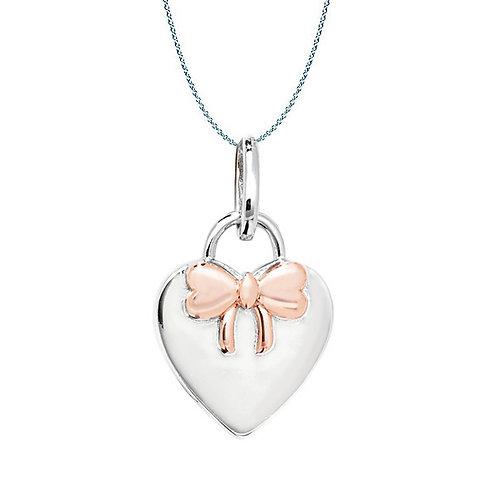 Seodra Silver Padlock & Bow Necklace