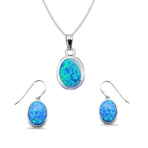 Seodra Sterling Silver Blue Opal Oval Necklace & Earrings Set