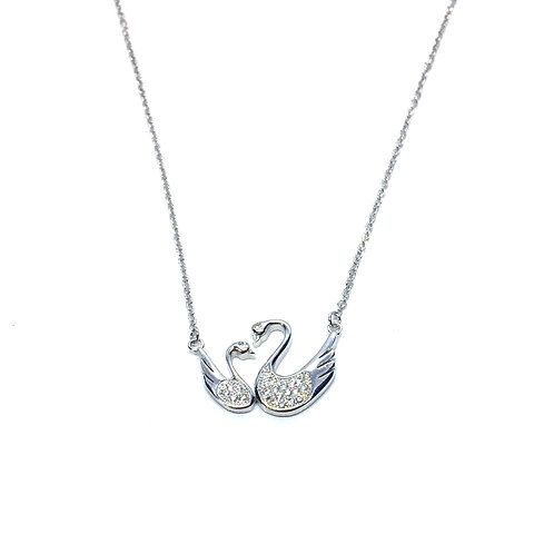 Seodra Sterling Silver Swan and Cygnet Necklace