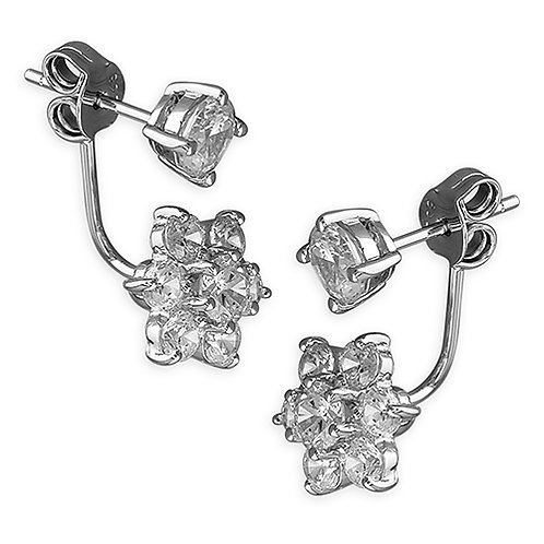 Seodra Sterling Silver & Cubic Zirconia Flower Ear Jacket Earrings