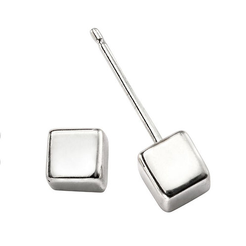 Seodra Sterling Silver 6mm Cube Stud Earrings