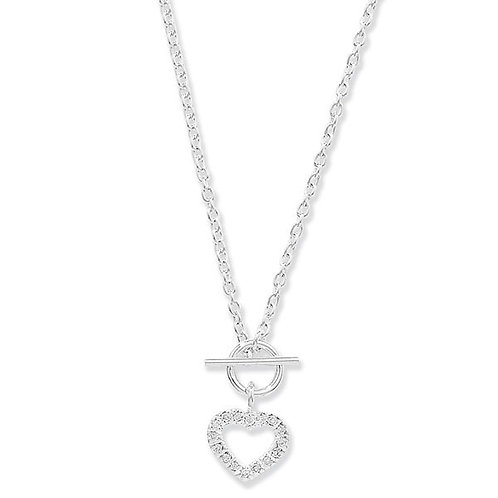 Seodra Sterling Silver & Cubic Zirconia Heart & T-Bar Necklace