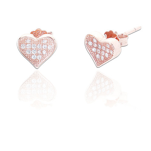 Seodra Sterling Silver & with Rose Gold Heart Stud Earrings