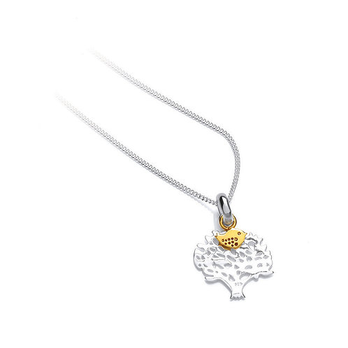 Seodra Sterling Silver Tree with Gold Plated Bird Necklace