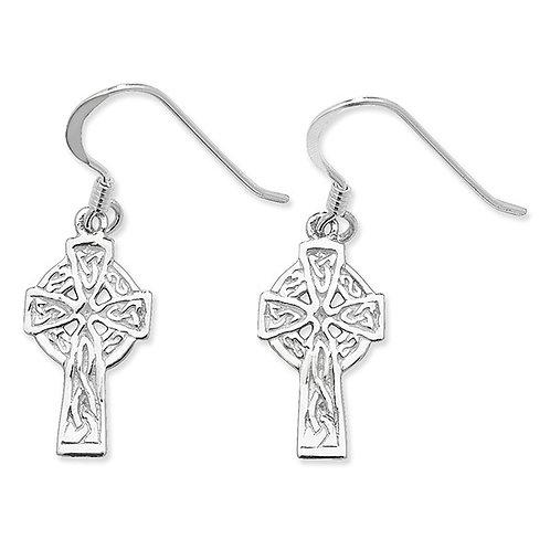 Seodra Sterling Silver Celtic Cross Earrings