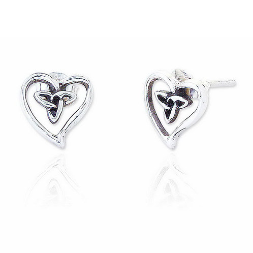 Seodra Sterling Silver Celtic Heart Stud Earrings