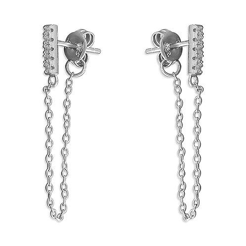 Seodra Sterling Silver Chain CZ & Bar Drop Earrings