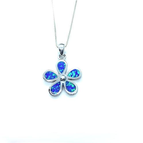 Seodra Sterling Silver & Blue Opal Flower Necklace