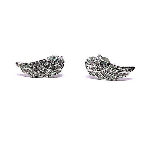 Seodra Sterling Silver & Cubic Zirconia Angel Wing Studs