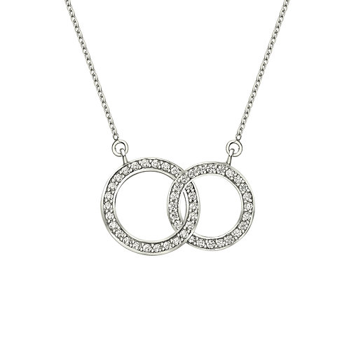 Seodra Sterling Silver & Cubic Zirconia Linked Circles Necklace
