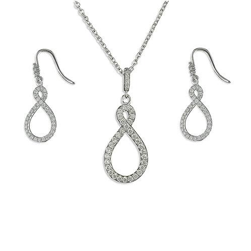 Seodra Sterling & Cubic Zirconia Silver Infinity Twist Necklace & Earrings Set