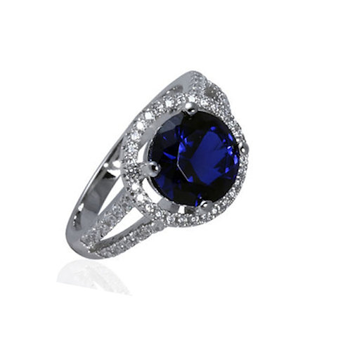 Seodra Sterling Silver & Sapphire Cubic Zirconia Halo Ring
