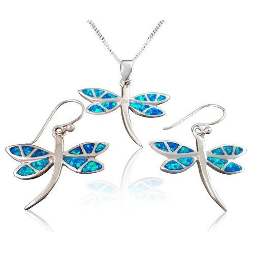 Seodra Sterling Silver & Opal Dragonfly Set