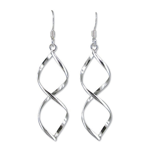 Seodra Sterling Silver Double Helix Drop Earrings